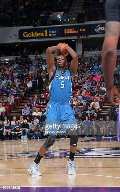 Gorgui Dieng of the Minnesota Timberwolves shoots against the Sacramento Kings on April 7 2016 at Sleep Train Arena in Sacramento California NOTE TO...