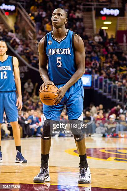Gorgui Dieng of the Minnesota Timberwolves shoots from the freethrow line during the second half against the Cleveland Cavaliers at Quicken Loans...
