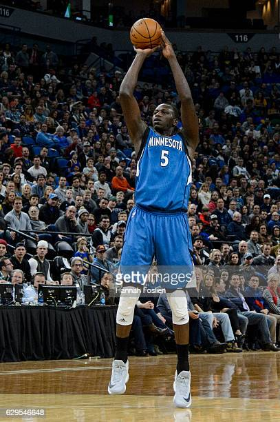 Gorgui Dieng of the Minnesota Timberwolves shoots the ball against the Golden State Warriors during the game on December 11 2016 at Target Center in...