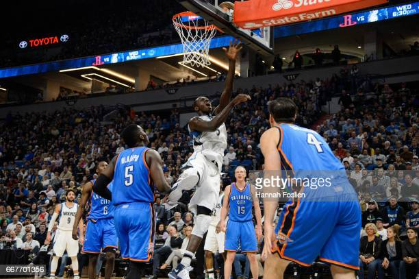 Gorgui Dieng of the Minnesota Timberwolves shoots the ball against the Oklahoma City Thunder during the third quarter of the game on April 11 2017 at...