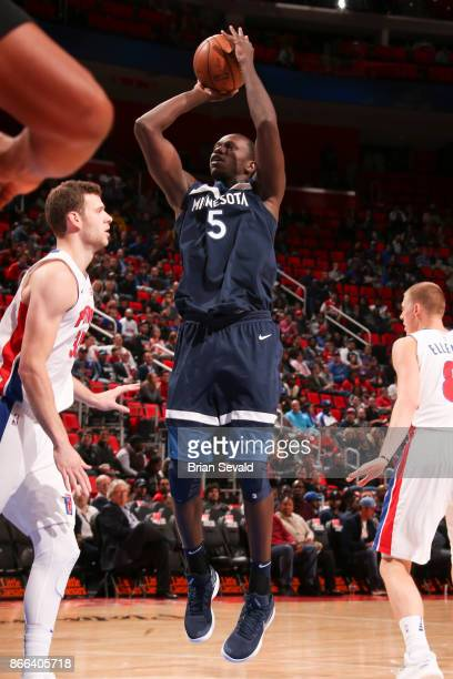 Gorgui Dieng of the Minnesota Timberwolves shoots the ball against the Detroit Pistons on October 25 2017 at Little Caesars Arena in Detroit Michigan...