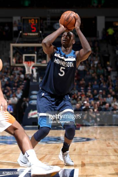 Gorgui Dieng of the Minnesota Timberwolves shoots the ball against the Phoenix Suns on November 26 2017 at Target Center in Minneapolis Minnesota...