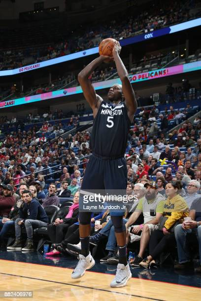 Gorgui Dieng of the Minnesota Timberwolves shoots the ball against the New Orleans Pelicans on November 29 2017 at Smoothie King Center in New...