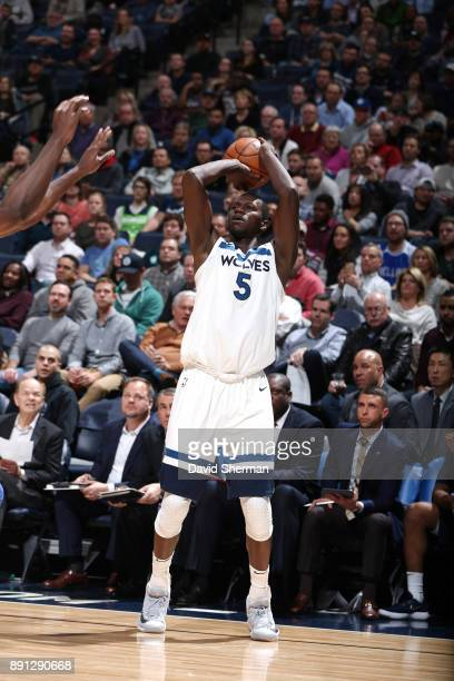 Gorgui Dieng of the Minnesota Timberwolves shoots the ball against the Philadelphia 76ers on December 12 2017 at Target Center in Minneapolis...