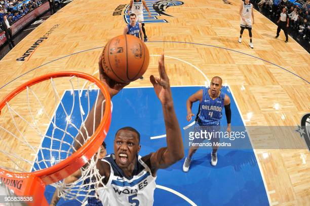 Gorgui Dieng of the Minnesota Timberwolves shoots the ball against the Minnesota Timberwolves on January 16 2018 at Amway Center in Orlando Florida...