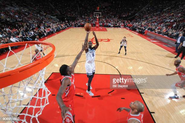 Gorgui Dieng of the Minnesota Timberwolves shoots the ball against the Houston Rockets on January 18 2018 at the Toyota Center in Houston Texas NOTE...