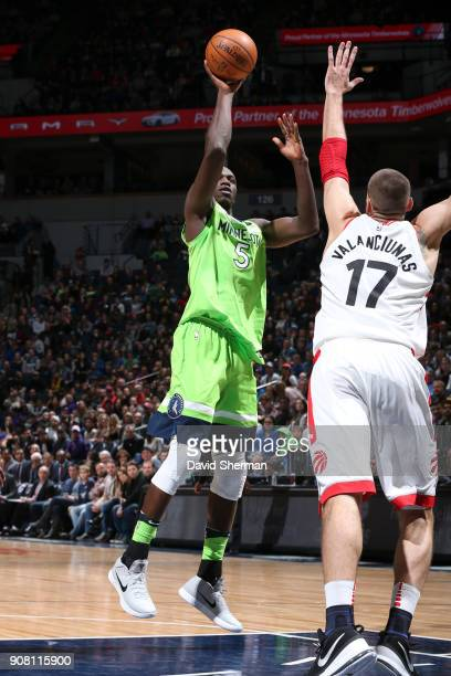 Gorgui Dieng of the Minnesota Timberwolves shoots the ball against the Toronto Raptors on January 20 2018 at Target Center in Minneapolis Minnesota...