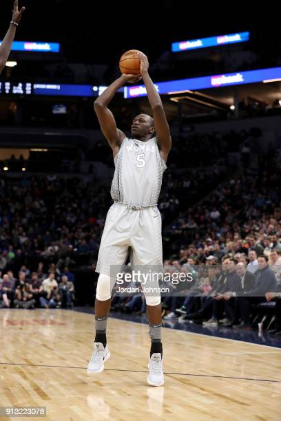 Gorgui Dieng of the Minnesota Timberwolves shoots the ball against the Milwaukee Bucks on February 1 2018 at Target Center in Minneapolis Minnesota...