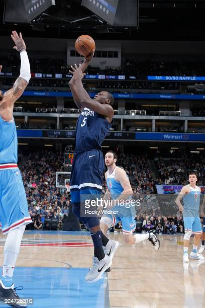 Gorgui Dieng of the Minnesota Timberwolves shoots the ball against the Sacramento Kings on February 26 2018 at Golden 1 Center in Sacramento...