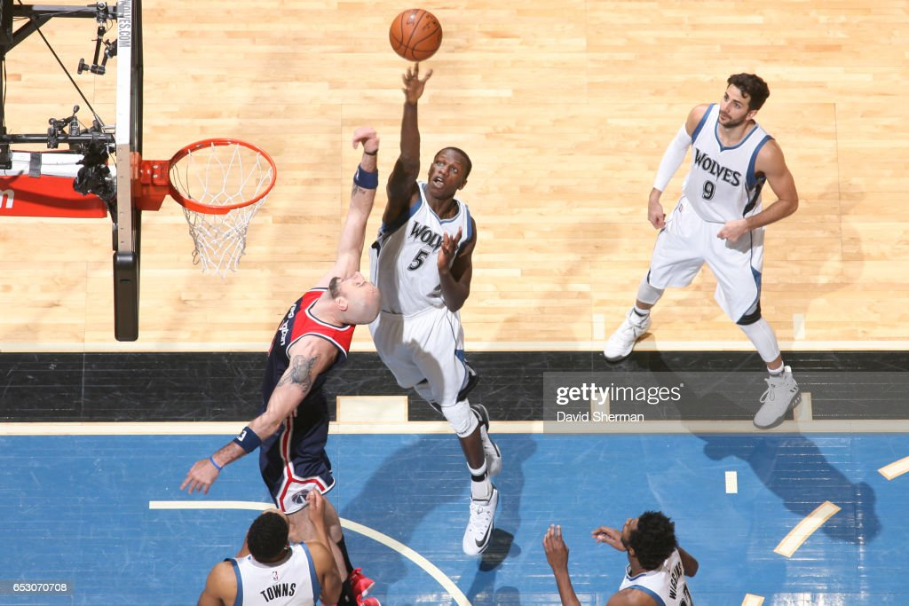 Gorgui Dieng #5 of the Minnesota Timberwolves shoots the ball during a game against the Washington Wizards on March 13, 2017 at Target Center in Minneapolis, Minnesota.