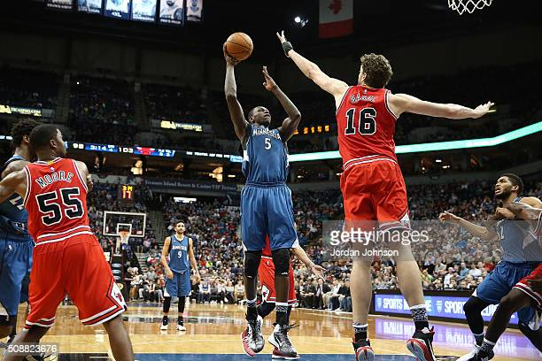 Gorgui Dieng of the Minnesota Timberwolves shoots the ball during the game against Pau Gasol of the Chicago Bulls on February 6 2016 at Target Center...