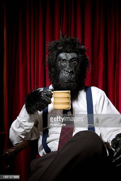 gorilla business man at tea time - monkey suit stock pictures, royalty-free photos & images