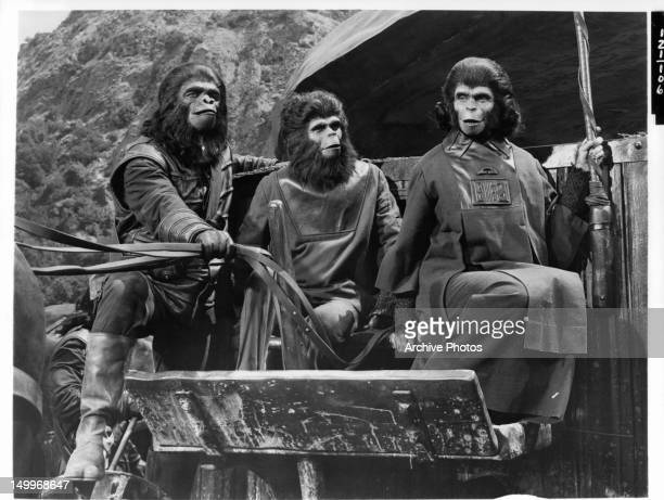 A Gorilla holds the reins of the wagon as the young adult chimpanzee and Kim Hunter sit on the wagon bench in a in a scene from the film 'Planet Of...