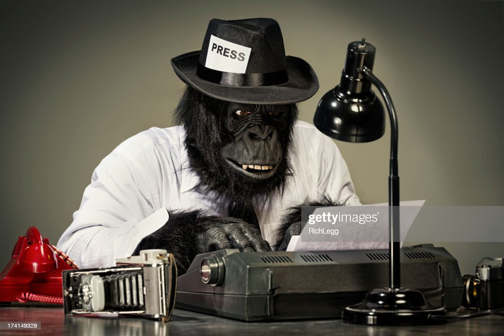 Gorilla Journalist : Stock Photo