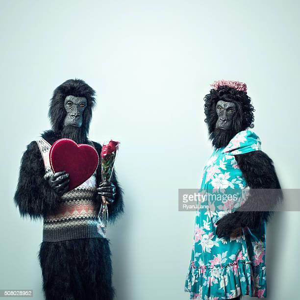 Gorilla Man Giving Valentines Day Gifts
