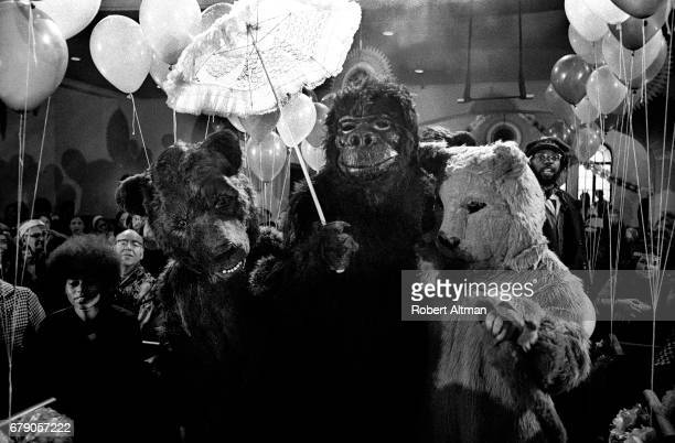 A gorilla walks down the aisle during the Marriage of Raggedy Robin to Raggedy Jane takes place at the First Unitarian Church on May 1 1971 in San...