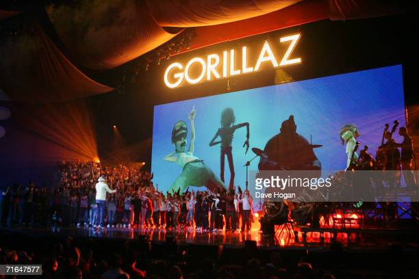 Gorillaz perform on stage at The Brit Awards 2006 with MasterCard at Earls Court 1 on February 15 2006 in London England The 26th annual music awards...