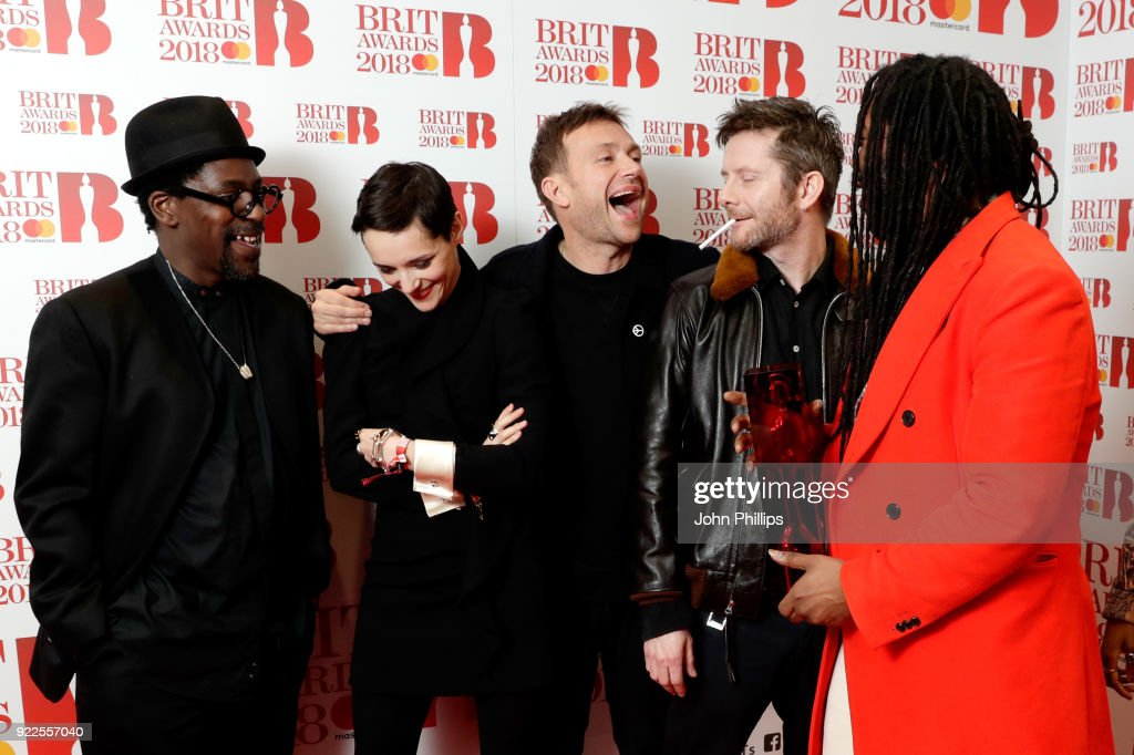 Gorillaz, winner of the Best British Band award, pose in the winners room during The BRIT Awards 2018 held at The O2 Arena on February 21, 2018 in London, England.