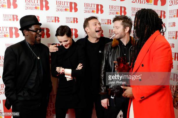 AWARDS 2018*** Gorillaz winner of the Best British Band award pose in the winners room during The BRIT Awards 2018 held at The O2 Arena on February...