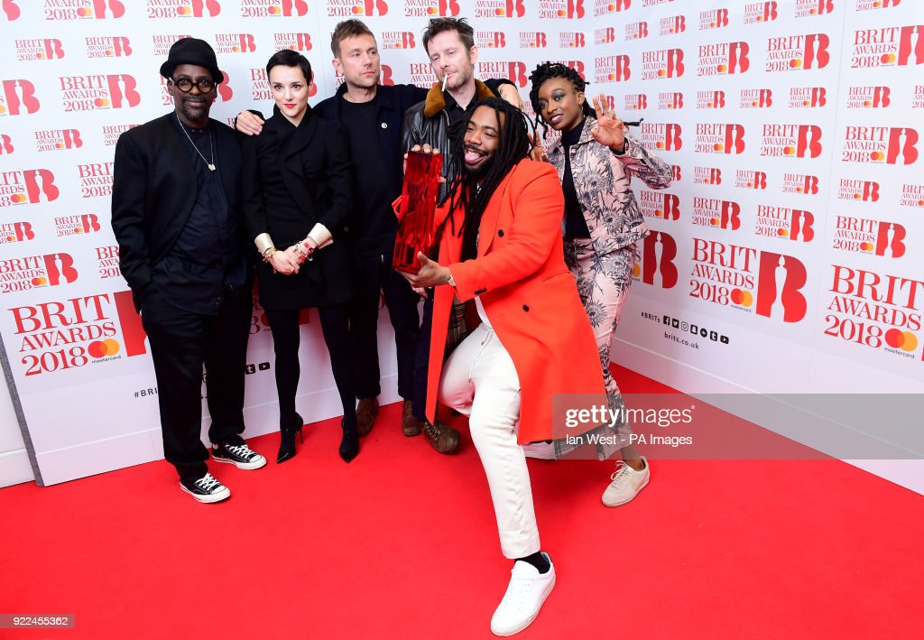 Gorillaz with their award for Best British Group in the press room during the Brit Awards at the O2 Arena, London