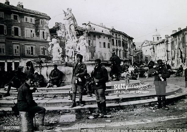 Gorizia Austrian troops in Piazza della Vittoria after the regaining of the city November 1 1917 World War I Italy 20th century Gorizia Museo...