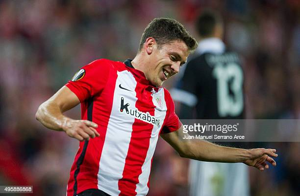Gorka Elustondo of Athletic Club celebrates after scoring his team's fifth goal during the UEFA Europa League match between Athletic Club and FK...