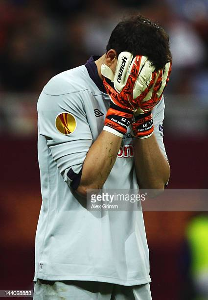 Gorka Iraizoz of Athletic Bilbao reacts during the UEFA Europa League Final between Atletico Madrid and Athletic Bilbao at the National Arena on May...