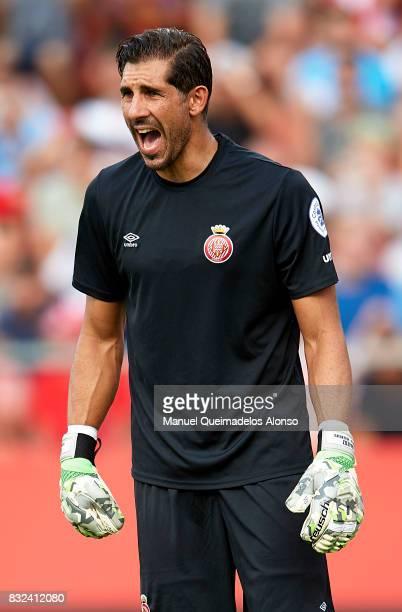 Gorka Iraizoz of Girona reacts during the preseason friendly match between Girona and Manchester City at Municipal de Montilivi Stadium on August 15...