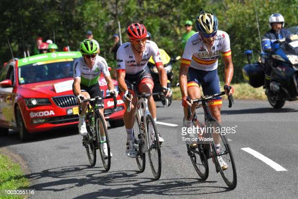 Gorka Izagirre of Spain and Bahrain Merida Pro Team / Jasper Stuyven of Belgium and Team Trek Segafredo / Tom-Jelte Slagter of The Netherlands and...