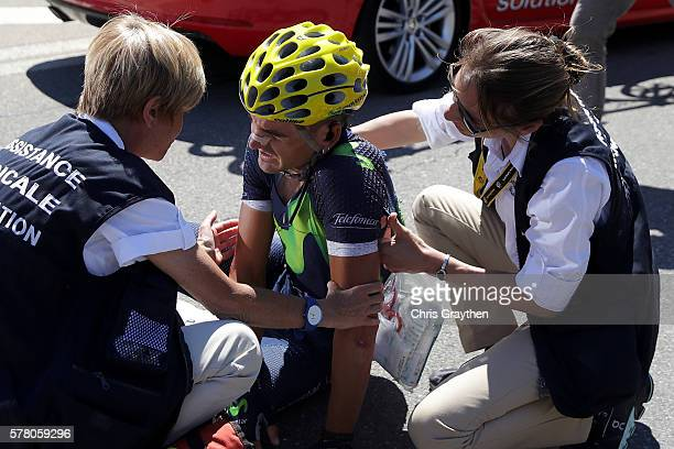 Gorka Izaguirre Insausti of Spain riding for Movistar Team lies on the ground afer crashing during stage seventeen of the 2016 Le Tour de France a...