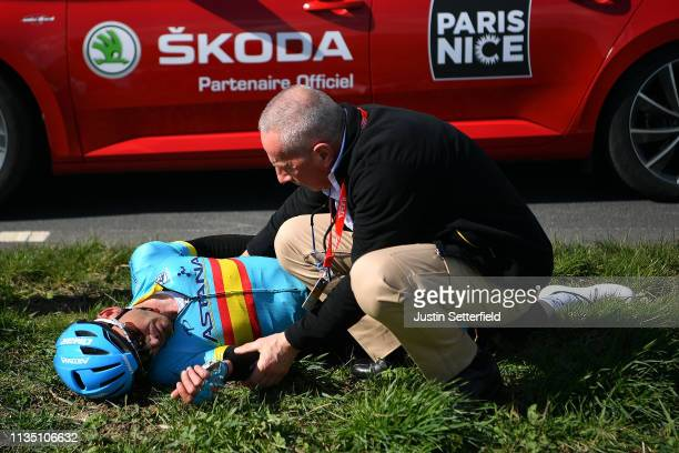 Gorka Izaguirre of Spain and Astana Pro Team / Crash / Medical Problem / during the 77th Paris Nice 2019 Stage 2 a 1635km race from Les Bréviaires to...