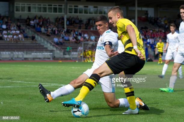 Gorka Zabarte Moreno of Real Madrid and David Kopacz of Dortmund battle for the ball during the EMKA RUHRCup International Final match between...