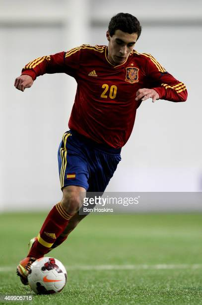 Gorka Zabarte of Spain in action during a U16 Internation match between Spain and Denmark at St Georges Park on February 14 2014 in BurtonuponTrent...