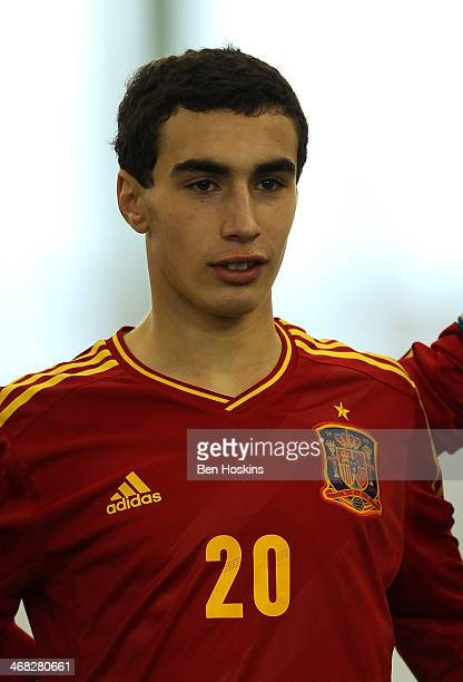 Gorka Zabarte of Spain looks on ahead of a U16 International match between England and Spain at St Georges Park on February 9 2014 in BurtonuponTrent...