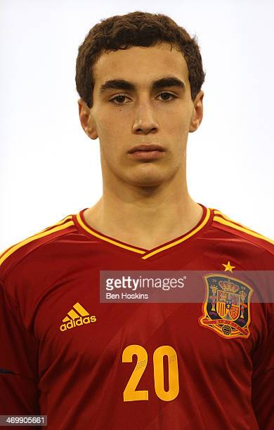 Gorka Zabarte of Spain looks on prior to a U16 Internation match between Spain and Denmark at St Georges Park on February 14 2014 in BurtonuponTrent...