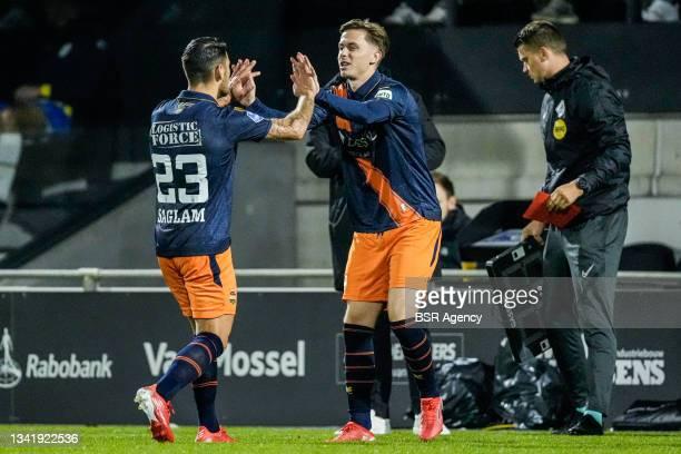 Gorkem Saglam of Willem II and Ringo Meerveld of Willem II during the Dutch Eredivisie match between RKC Waalwijk and Willem II at Mandemakers...