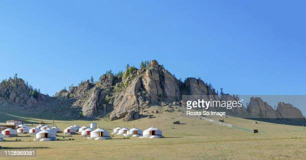gorkhi-terelj national park - yurt stock pictures, royalty-free photos & images