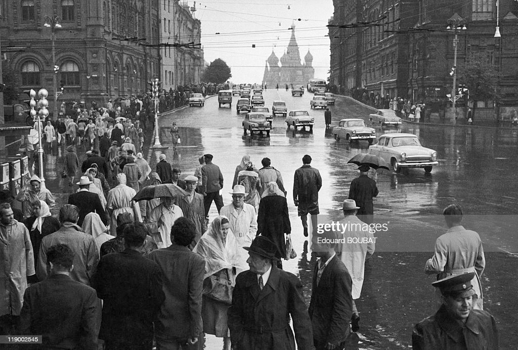 Gorki Street In Moscow, In The 1950's.