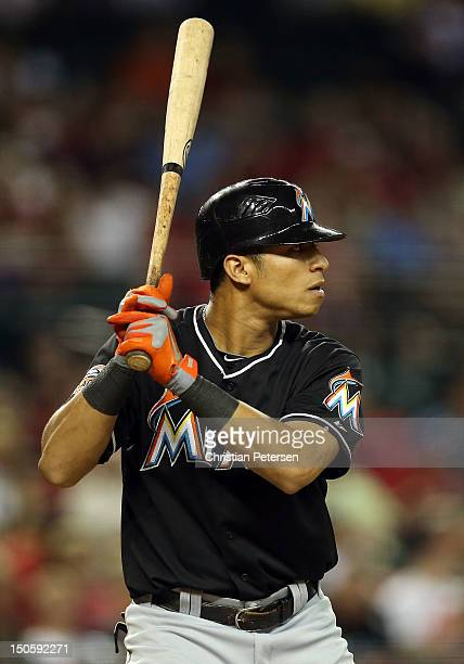 Gorkys Hernandez of the Miami Marlins bats against the Arizona Diamondbacks during the MLB game at Chase Field on August 21 2012 in Phoenix Arizona