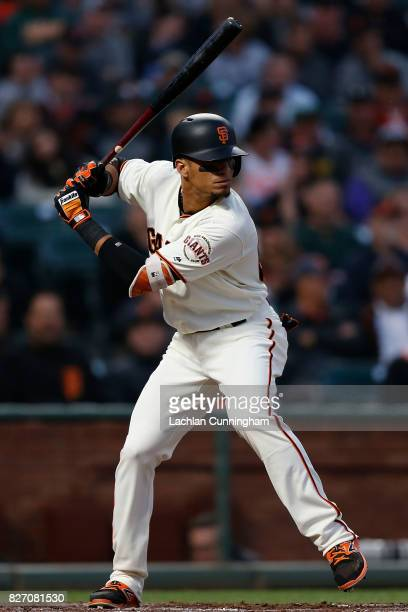 Gorkys Hernandez of the San Francisco Giants at bat in the third inning against the Oakland Athletics during interleague game at ATT Park on August 2...