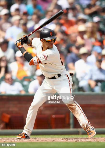 Gorkys Hernandez of the San Francisco Giants bats against the Milwaukee Brewers at ATT Park on August 23 2017 in San Francisco California