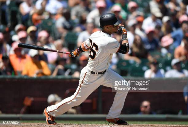 Gorkys Hernandez of the San Francisco Giants bats against the San Diego Padres in the bottom of the fourth inning at ATT Park on July 23 2017 in San...