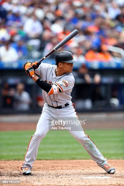 Gorkys Hernandez of the San Francisco Giants bats during the game against the New York Mets at Citi Field on Wednesday May 10 2017 in the Queens...