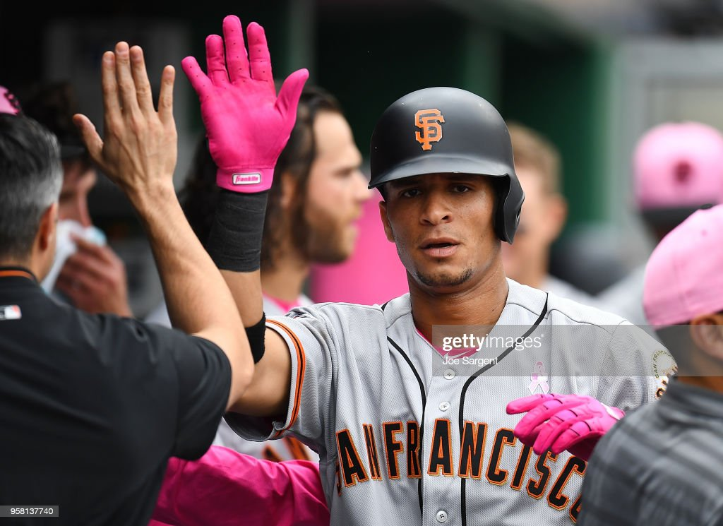 Gorkys Hernandez #7 of the San Francisco Giants celebrates his solo home run with teammates during the sixth inning against the Pittsburgh Pirates at PNC Park on May 13, 2018 in Pittsburgh, Pennsylvania.