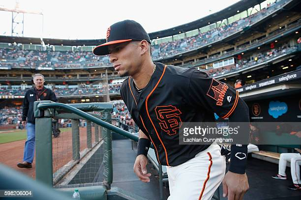 Gorkys Hernandez of the San Francisco Giants leaves the dugout before the game against the Atlanta Braves at ATT Park on August 27 2016 in San...