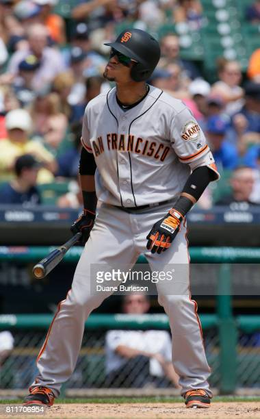 Gorkys Hernandez of the San Francisco Giants prepares to bat against the Detroit Tigers at Comerica Park on July 6 2017 in Detroit Michigan