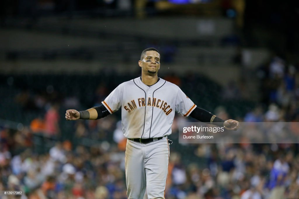 Gorkys Hernandez #66 of the San Francisco Giants reacts after being tagged out on the base path to start a double play against the Detroit Tigers at Comerica Park on July 5, 2017 in Detroit, Michigan.