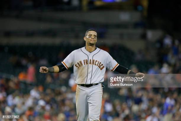 Gorkys Hernandez of the San Francisco Giants reacts after being tagged out on the base path to start a double play against the Detroit Tigers at...