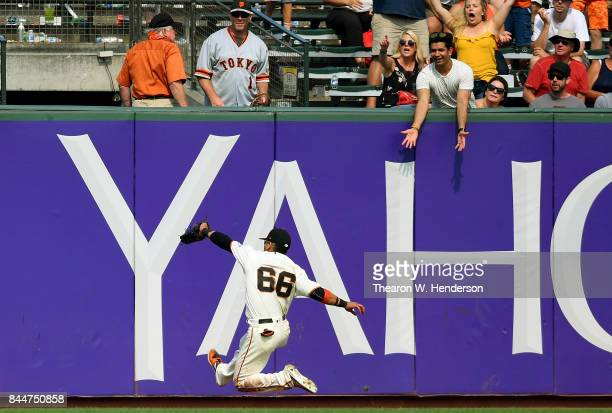 Gorkys Hernandez of the San Francisco Giants runs down a fly ball off the bat of Paul DeJong of the St Louis Cardinals in the top of the ninth inning...