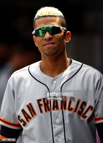 Gorkys Hernandez of the San Francisco Giants walks in the dugout before the game against the New York Mets at Citi Field on Wednesday May 10 2017 in...